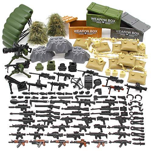 Feleph Accesorios Militares Set Armas Armas Perro SWAT Moderno Saco de Arena Body Armor WW2 Bloques de Construcción de Ladrillos Set Modelo Juguetes Compatible para Marcas Grandes(C)