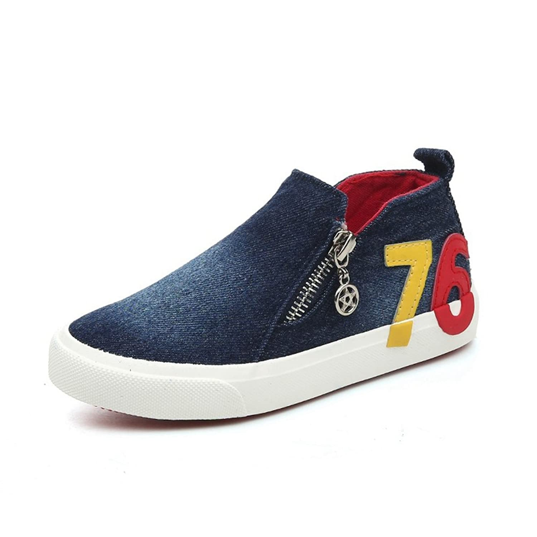 [XINXIKEJI] 子供靴 女の子 男の子 ガールズ ボーイズ キッズシューズ ハイカット スニーカー デッキシューズ ファスナー付き 履きやすい 滑り止め 17.0-23.0cm 通気 軽い 無地 コンフォート 可愛い 通学靴 運動靴 ネイビー ブルー