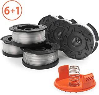 X Home Weed Eater Spools Compatible with Black and Decker AF-100 GH600 GH900 String Trimmer Edger, 30ft 0.065 inch Spool Refills Line Auto-Feed, RC-100-P Spool Cap Covers (6 Spools, 1 Cap,1 Spring)