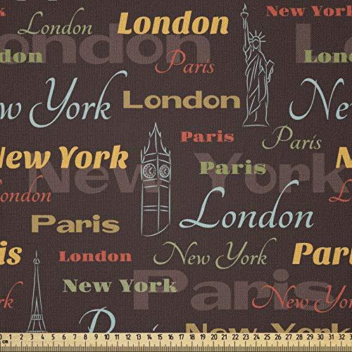 ABAKUHAUS Ciudad Tela por Metro, Lugares Famosos Del Mundo, Microfibra Decorativa para Artes y Manualidades, 1M (230x100cm), Multicolor