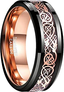 NUNCAD Men's 8MM Black and Rose Gold Celtic Dragon Tungsten Carbide Ring Polished Finish Beveled Edge Size 7 to 14