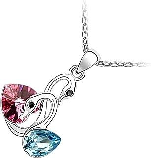 Amor Corazón De Cristal Azul Oscuro Joyería Set Collar Y Aretes Cisne Plata