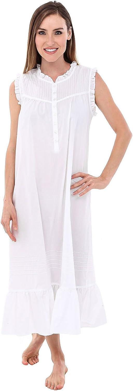 Alexander Del Rossa Womens Emma Cotton Nightgown, Sleeveless Victorian Sleepwear