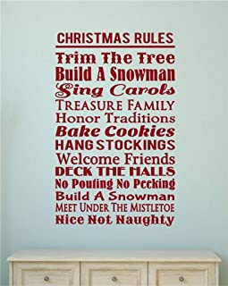 A Top Decals Vinyl Wall Decor - Christmas Decorations Christmas Rules Vinyl Decal Wall Stickers Words Letters Home Christmas D?cor