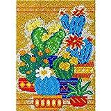 Juego de alfombras con gancho para plantas suculentas en maceta, para adultos, niños, para ganchillo, para colgar en la pared, para decoración del hogar, 86 x 58 cm