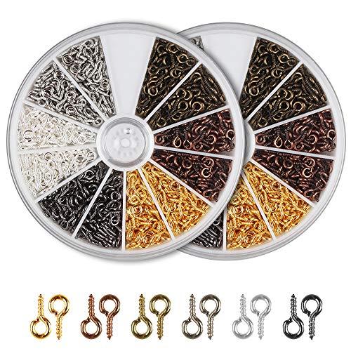 Accesorios de Fabricación de Joyas 1200 pcs Ganchos de Tornillo para Joyería 6 Colores Mini Ojo Tornillo para Colgante, Cuenta y Collares de Bricolaje