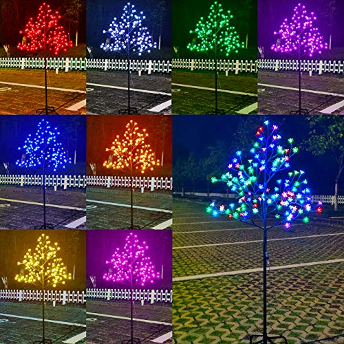 128 LED Cherry Blossom Tree Light Color Changing, Artificial Flower Bonsai Tree Lamp with Multicolor Remote Control 5 Feet Lit Tree Centerpieces for Halloween, Christmas Decor-4.9ft(RGB)