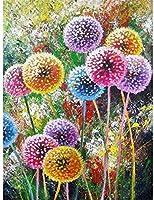 NC88 大人のためのDiy5Dダイヤモンド絵画キット子供タンポポフルドリルクリスタルラインストーン写真キャンバスアートクラフト家の壁の装飾12x16インチ(フレームレス)