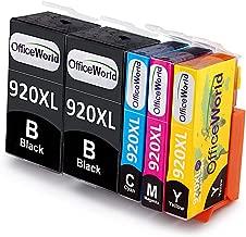 OfficeWorld 920XL Reemplazo para HP 920 Alta Capacidad Cartuchos de tinta Totalmente compatible con HP Officejet 7500A 7500 6000 6500 6500A 7000 (2 Negro, 1 Cian, 1 Magenta, 1 Amarillo)