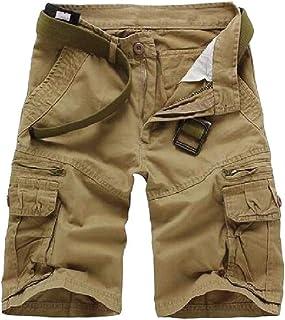 HEFASDM Men Simple Plus Size Original Fit Shorts Multi-Pockets Tactical Pants