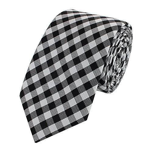 Fabio Farini - Elegante corbata de hombre a cuadros de 6 cm de ancho Negro Blanco