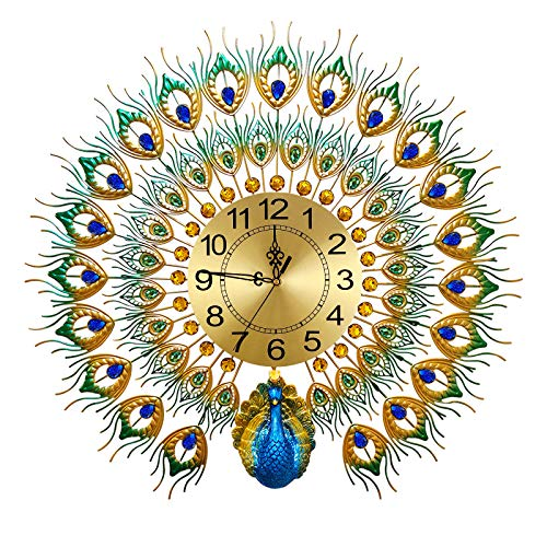 Large Peacock Wall Clock 27.6 inch Metal Design Non-Ticking Silent Art Digital Wall Clocks for Living Room Decor