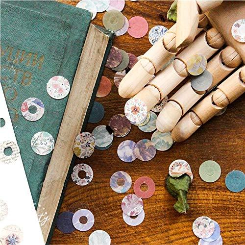 BLOUR Japanische Retro Round Protect Aufkleber Zeitschriften Zubehör Löcher Loseblatt Notebook Papierverstärkung DIY Aufkleber 60St
