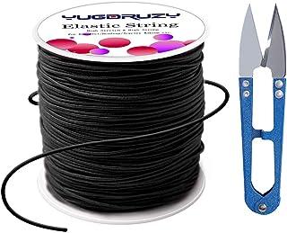 2mm ELASTIC Cord 5 Yards BLACK Round Nylon Coated Rubber Stretch Cording for DIY Craft Beading Wrap Bracelet Jewelry