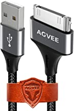Agvee Unbreakable Nylon Braided [3 Pack 10ft] 30 Pin Heavy Duty Fast Charger Cable, Slim Metal Shell End Case Friendly Charging Data Cord for iPhone 4/4S, iPad 1/2/3, iPod, Black Gray