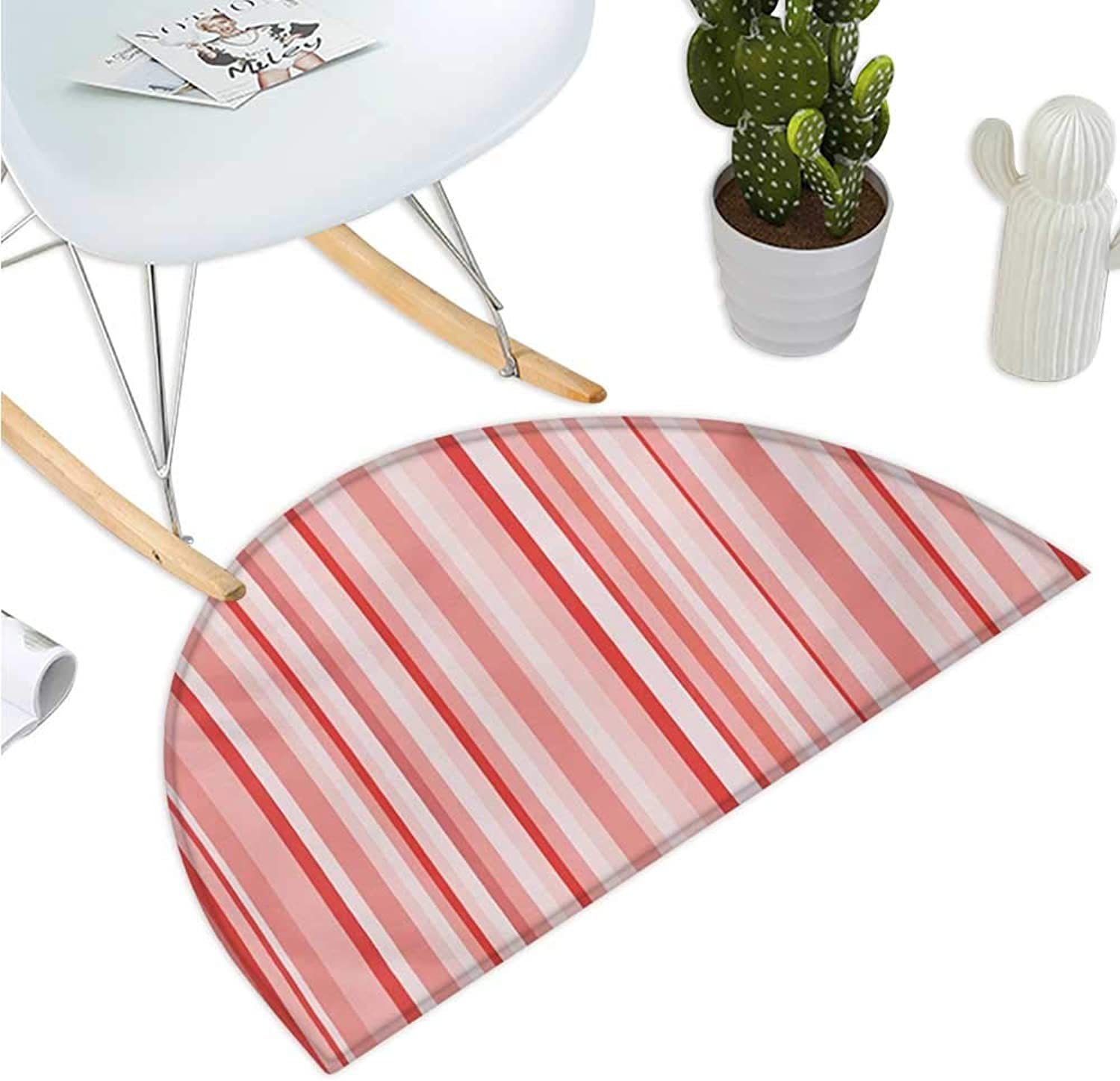 Coral Semicircular Cushion greenically Striped Retro Pattern in Soft colors Pinkish Old Fashioned Entry Door Mat H 35.4  xD 53.1  Coral Pale Pink White