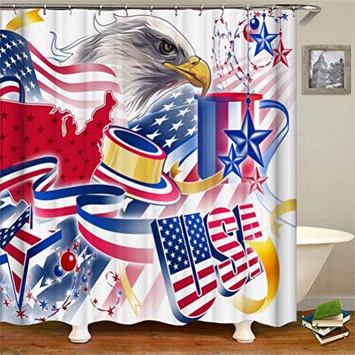 SLN Haus Dekoration. Amerikanische Flagge Und Adler.Duschvorhang: 180X180 cm. 12 C-Förmige Haken. 3D Hd Druck. Wasserdicht. Nicht Verblassen.