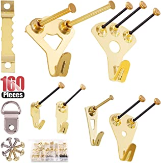 Hilitchi Picture Hangers, 160-Pcs Professional Frame Hanging Picture Hanging Kit Hanger - Heavy Frame Hooks for Wall Mounting Holds 5-100 lbs