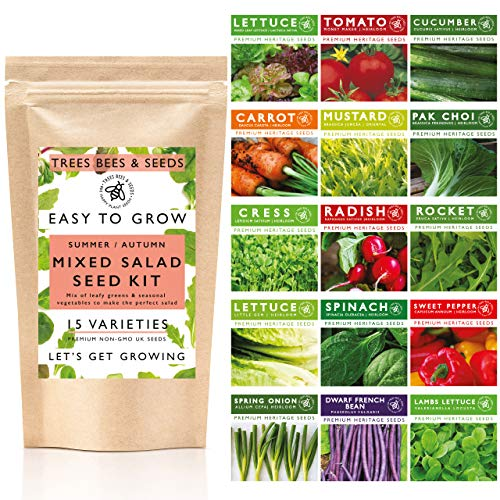 Salad & Vegetable Seeds for Gardening, 15 Late Summer Autumn Sowing Salad and Vegetable Seed Varieties Included in This Grow Your Own Kit, The Trees Bees and Seeds Co.