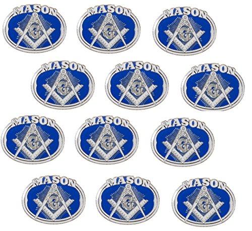 Masonic Freemason Oval Emblem with Square and Compass Lapel Hat Pin (12 Pins)