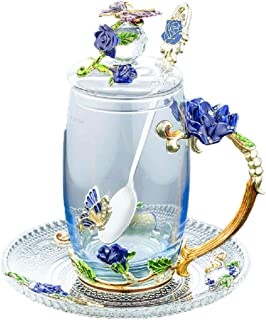 Glass Tea Cup Coffee Mug, Handicraft 3D Vintage Flower Cup with Lid Coaster and Tea Spoon, Unique Butterfly and Blue Rose ...