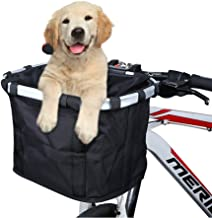 ANZOME Bike Basket, Folding Small Pet Cat Dog Carrier Front Removable Bicycle Handlebar..