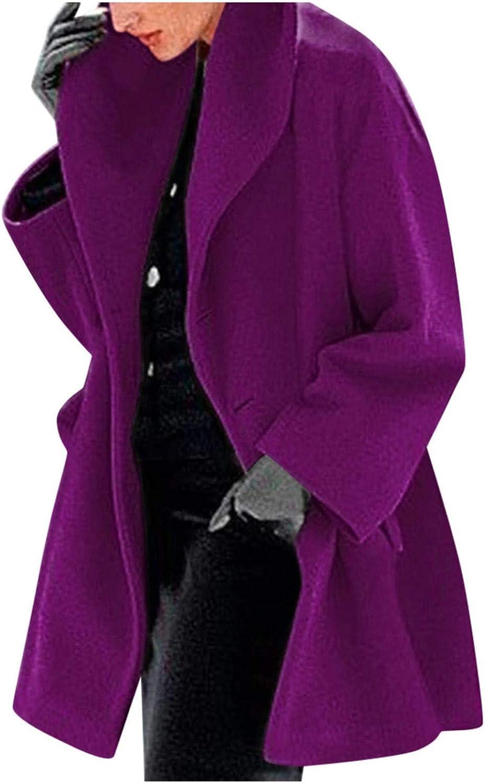Women Trench Coat Long Sleeve Pea Coat Lapel Open Front Long Casual Jacket Overcoat Outwear Cardigan
