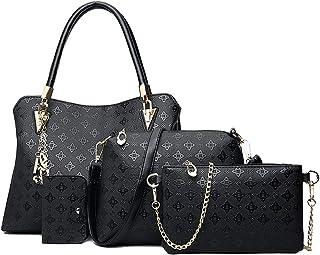 Pahajim Damenhandtasche Damen Geschenkset Damen Persönlichkeit Kosmetiktasche 4 Stück Set Damen Tasche Designer Mode Damen...