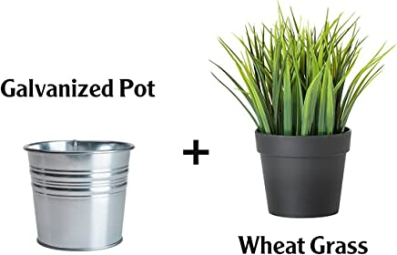 Ikea Artificial Potted Plant Wheat Grass 9 Lifelike Nature Houseplant Decoration Fejka- With Metal Pot! by IKEA