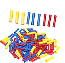 Yakamoz 100pcs Assorted Full Insulated Butt Connector Electrical Automotive Cable Wire Crimp Terminal