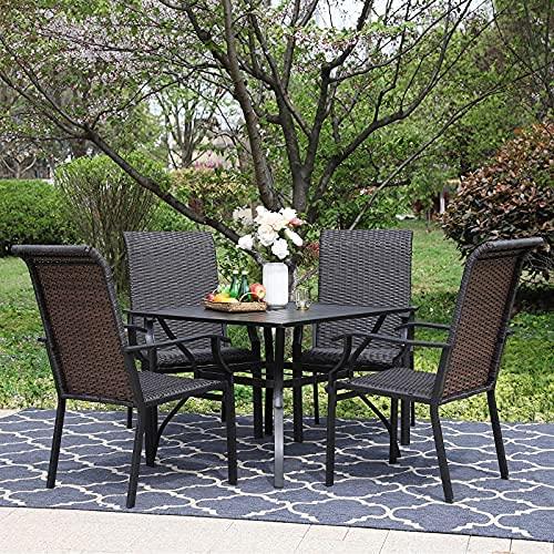 Juego de comedor de patio Juego de muebles de mesa de mimbre de 5 piezas - 4 sillas de jardín de rattan rattan ...