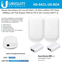 NanoStation AC loco NS-5ACL-US Loco5ac 5GHz 802.11ac airMAX CPE Radio 450Mbps Wireless Access Point (2-Pack) with PoE POE-24-7W-G Included (2-Pack)