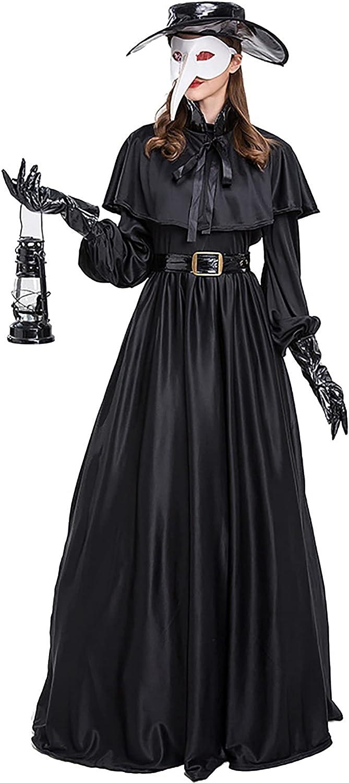 Conjunto de Disfraz de médico de la Peste para Mujer - 5 en 1 máscara de pájaro de médico de la Peste/Sombrero/cinturón/Guantes/Vestido de Plague Dr, Capa de Disfraz de Halloween para Cosplay