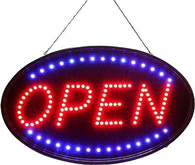 SOVIYAS LED Open Sign 23x14 pollici (58x36cm) con 2 modalità lampeggianti Insegne luminose elettroniche per display aziendali,vetrine,negozi,bar