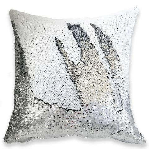 White Silver 16'' Magic Mermaid Pillow Case Reversible Sequin Glitter Sofa Cushion Cover