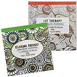 COM-FOUR Lot de 2 livres de coloriage pour adultes, mandalas et autres magnifiques motifs à colorier, art de détente créative (set de 4 à 2 pièces)