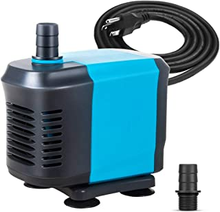 KEDSUM 550GPH Submersible Water Pump(2500L/H,40W), Ultra Quiet Submersible Pump with 5ft High Lift, Fountain Pump with 6.5ft Power Cord, 3 Nozzles for Fish Tank, Pond, Aquarium, Statuary, Hydropon