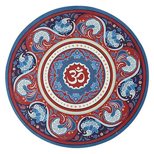 hsj LF- Alfombrilla de yoga redonda de 3 mm antideslizante de goma natural engrosamiento para el hogar, manta de meditación impresa, alfombrilla de meditación antideslizante (color: E, tamaño: 3 mm)