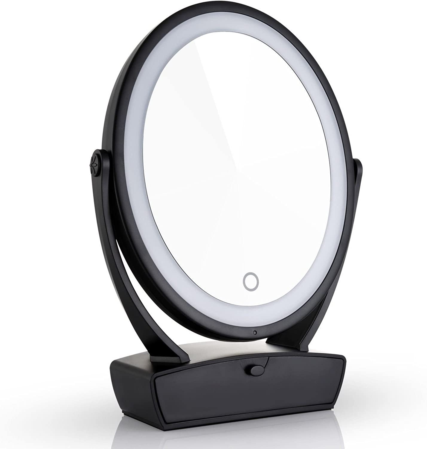 Makeup Mirror,Two Sided Lighted Mirror Round Vanity Drawer X 7X 15X Magnification USB Charge