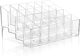 Bullidea 1x Lipstick Storage Box Clear Acrylic 24 Lipstick Holder Stand Ladies Cosmetic Make Up Organiser Case