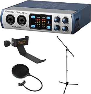 PreSonus Studio 26-2x4 192 kHz, USB 2.0 Audio/MIDI Interface with COHH-2 Clamp On Headphone Holder, MS-5230F Tripod Microphone Stand and Pop Filter