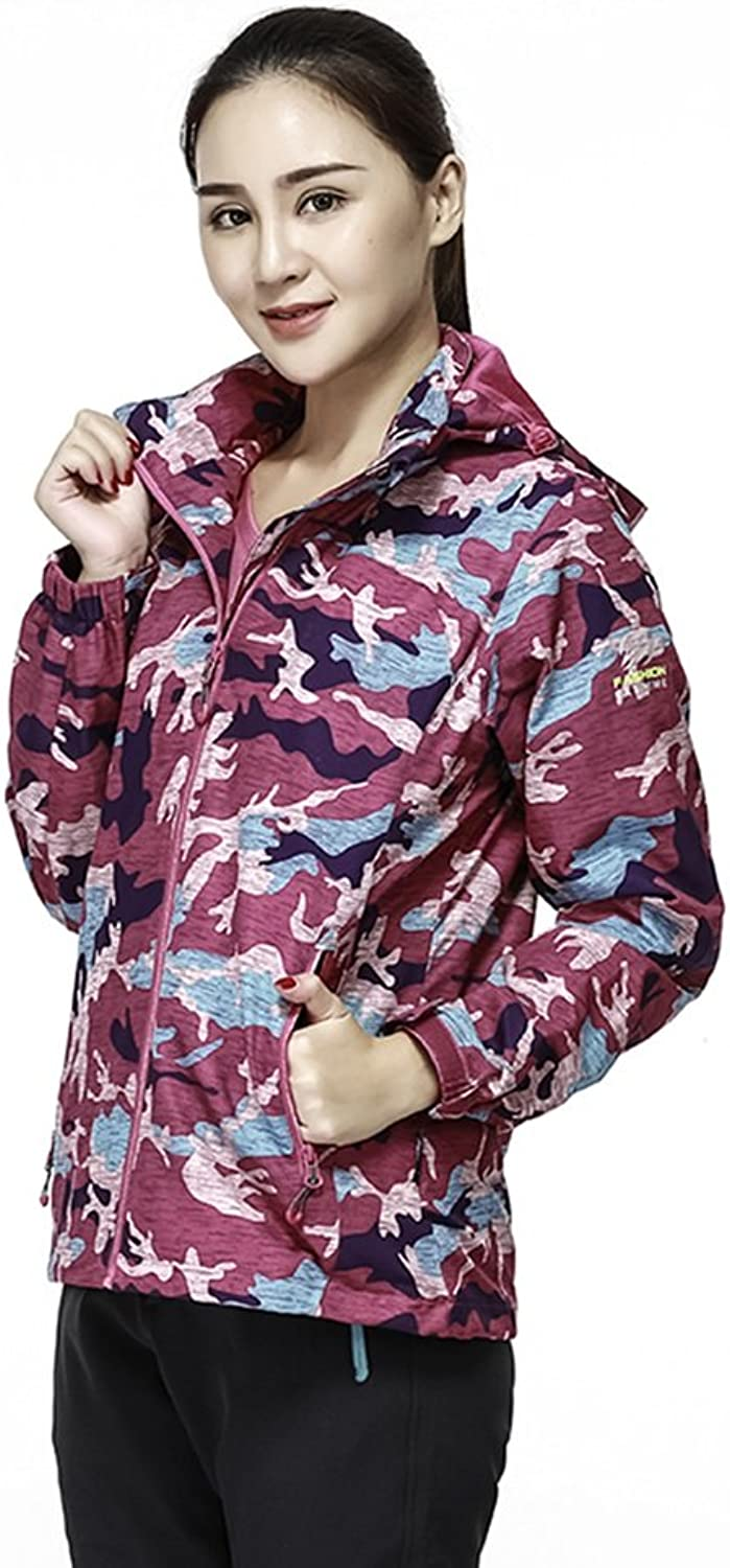 Active Jackets Camo Jacket Men Women Tracksuit Jacket Hoody Couple Jackets (color   Light pink red, Size   XL)