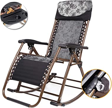KYSZD-Rails d'aide au lit Outdoor Adjustable Foldable Rocking Chair Sun Lounger Garden Chairs Ergonomic Design Textilene Fabric with Detachable Tray for Patio Garden Beach Pool