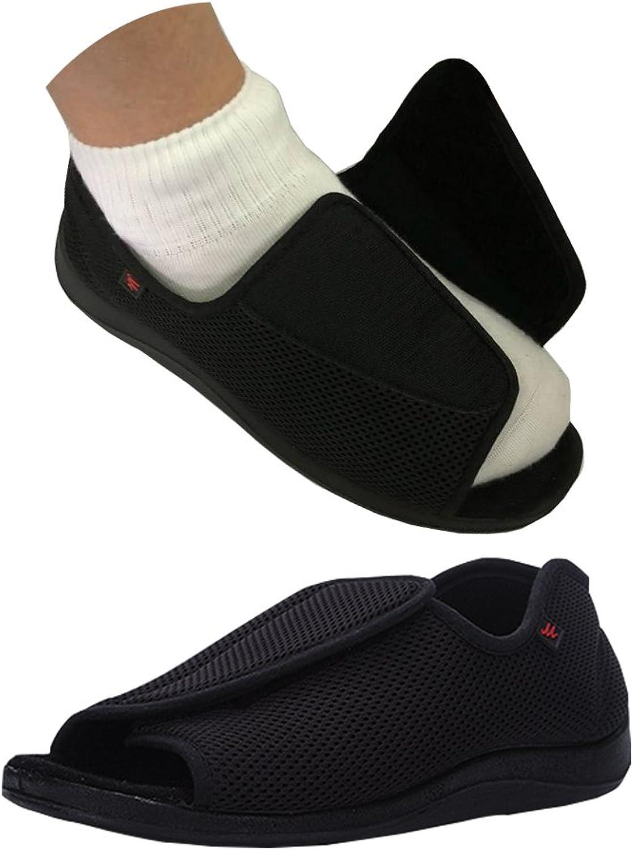 NEPPT Diabetic Slippers Plantar Fasciitis Orthopedic Arthritis Feet Velcro Diabetic shoes for Men - Safety Extra Wide Tennis Open Toe Sandals Sneakers