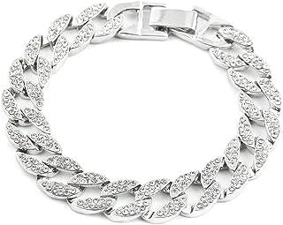 Fashion Men Bracelet Silver Plated Zinc Alloy Hip Hop Bracelets & Bangles Iced Out Full Rhinestone Miami Cuban Chain Bracelet