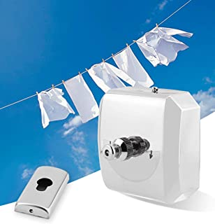 Moonite Stainless Steel Clothesline Punch-Free Retractable and Adjustable Washing Line,Balcony Drying Indoor Bathroom Shrink Wire Rope Clothes Line Wall Hanging Stretch Line