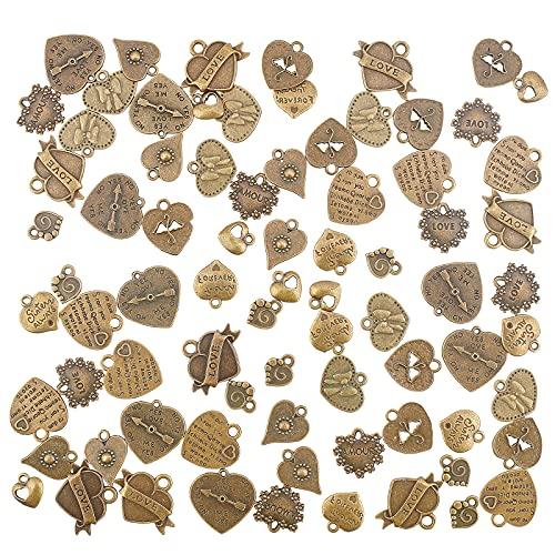 PandaHall 100 colgantes con forma de corazón de aleación y encantos de amor para hacer manualidades, collares, joyas y manualidades, día de San Valentín, bronce antiguo
