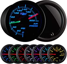 GlowShift Tinted 7 Color 200 PSI Air Pressure Gauge Kit - Includes 2 Electronic Sensors - Red & Green Analog Needles - Black Dial - Smoked Lens - for Air Ride Suspension Systems - 2-1/16