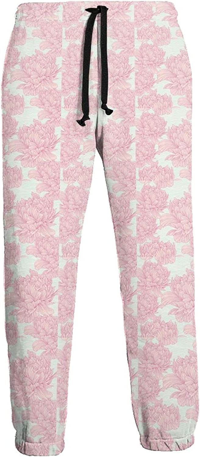 FSERSANHW Drawn Peony Flower Men's At with Pants Pockets Max Max 65% OFF 51% OFF Tapered