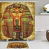 Juego de Cortinas y tapetes de Ducha de Tela,Reina egipcia Rey Príncipe en papiro,Cortinas de baño repelentes al Agua con 12 Ganchos, alfombras Antideslizantes